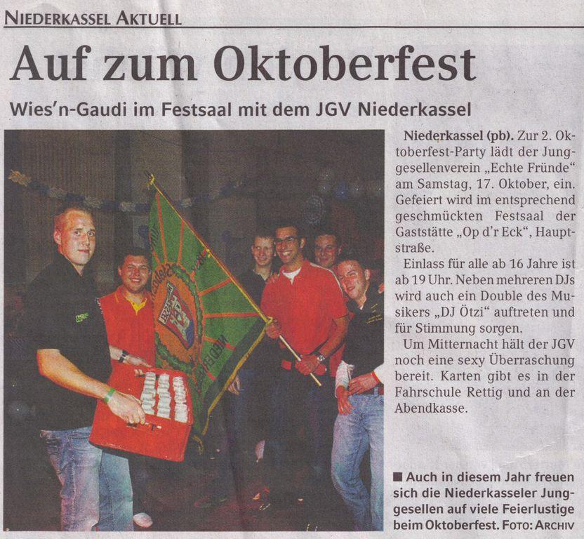Oktoberfestparty 2009 Werbung: