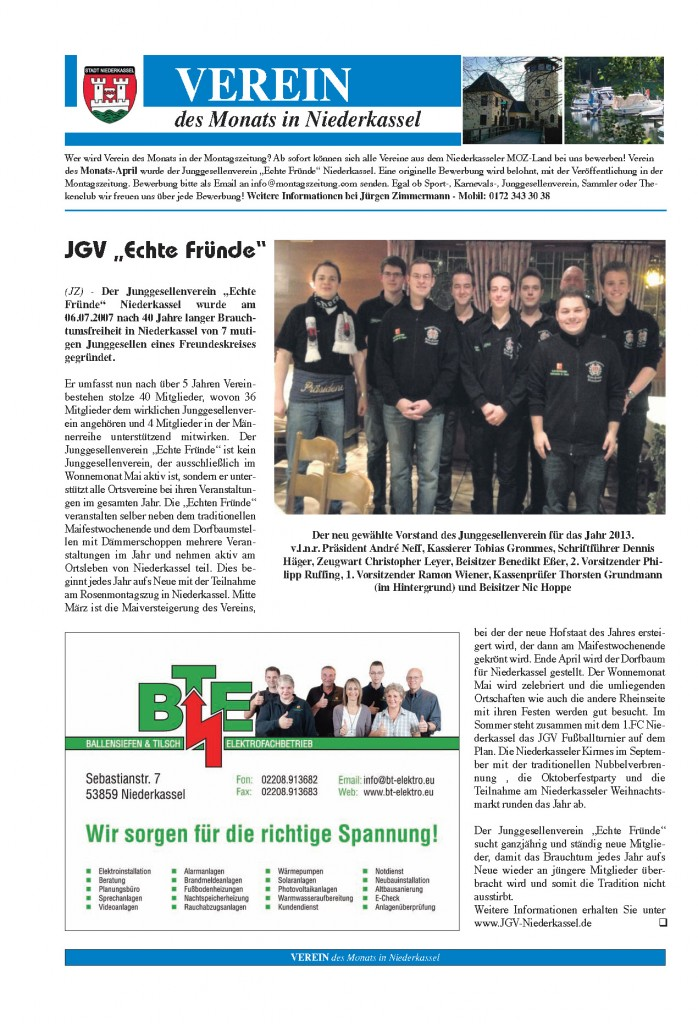 Seite 1 - Verein des Monat April 2013