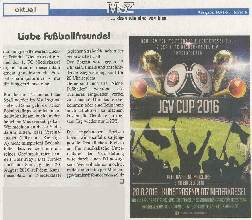 Werbung JGV-Cup 2016