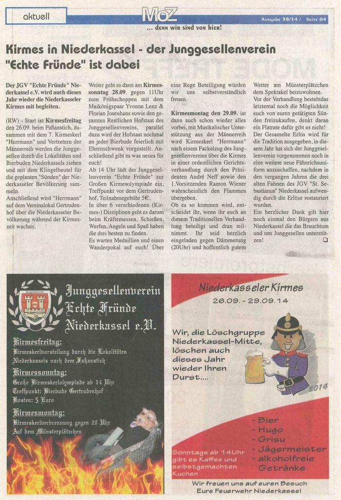 Zeitung Niederkasseler Kirmes 2014