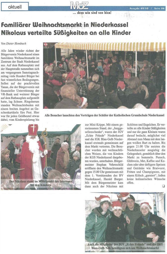 Zeitung Weihnachtsmarkt Niederkassel 2010