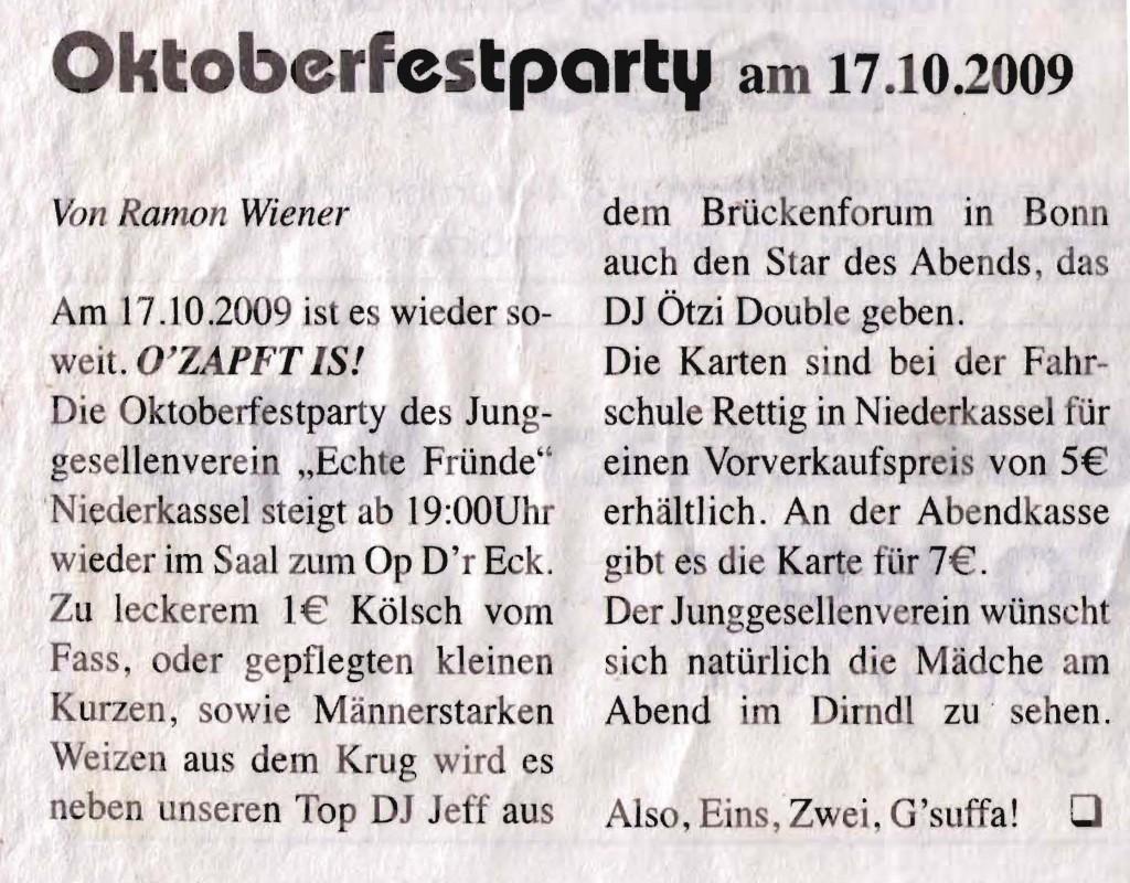 Oktoberfestparty 2009: